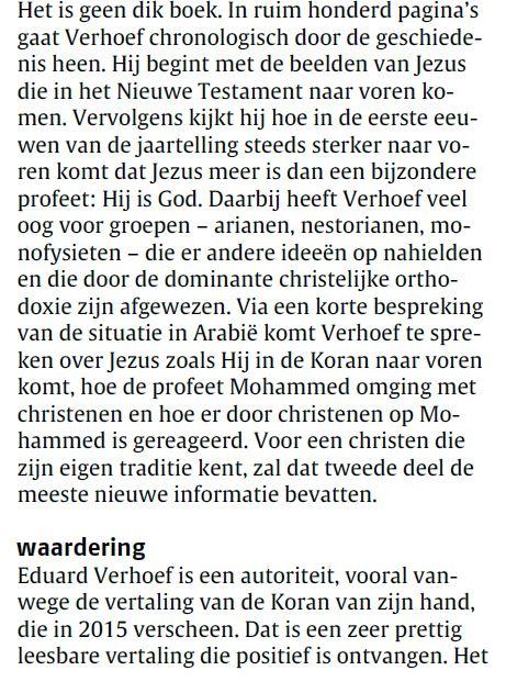 Recensie in Nederlands Dagblad - Verhoef - Jezus in christendom en islam